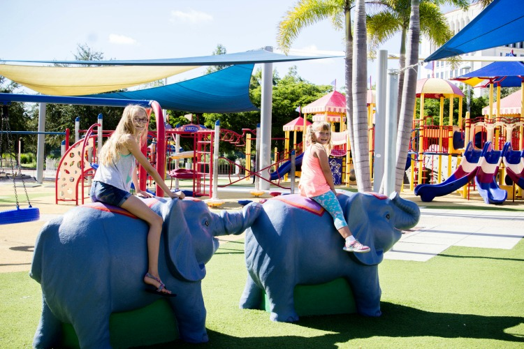 Kids can ride circus animals in Payne Park