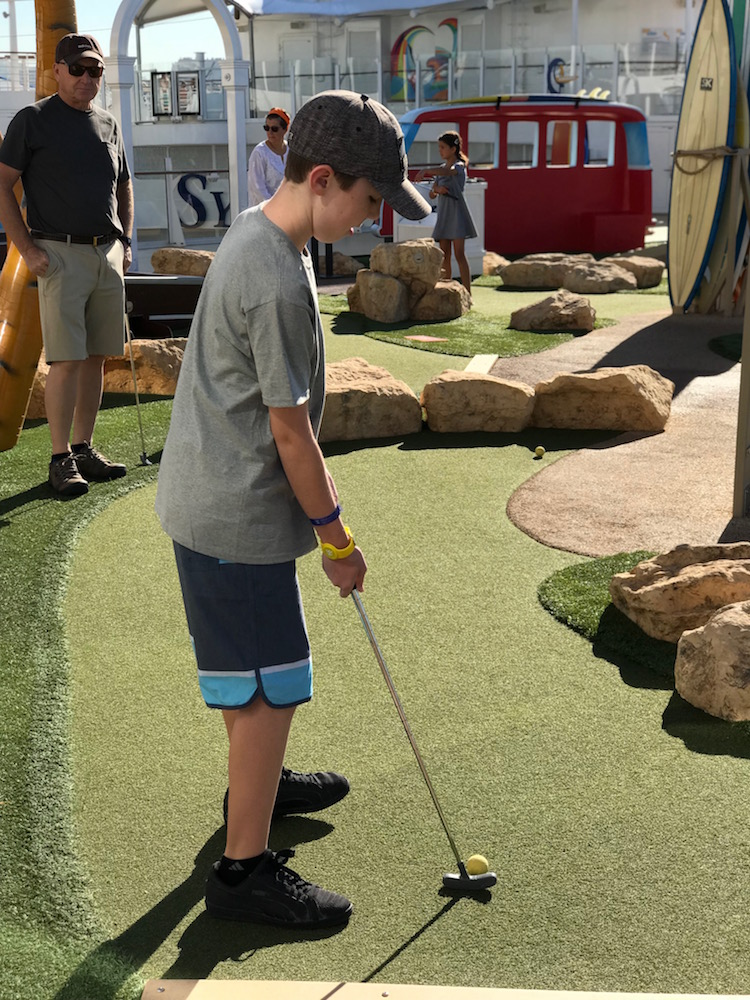 Mini Golf aboard the Symphony of the Seas was a multigenerational cruise favorite