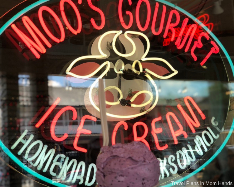 Moo's Gourmet Ice Cream is one of the where to eat spots in Jackson Hole for its award-winning flavors like huckleberry!