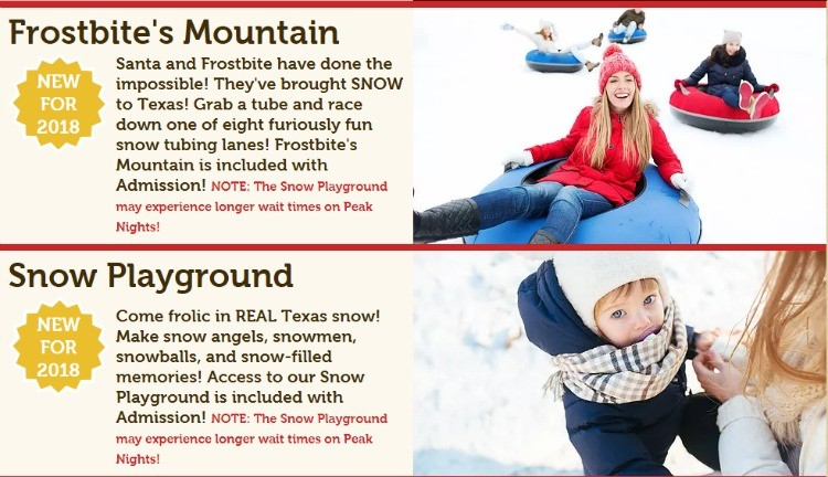 Do you know where to find snow in Texas? We can't wait to check out these two new attractions at Santa's Wonderland for 2018. It may be our only chance for snow in Texas!