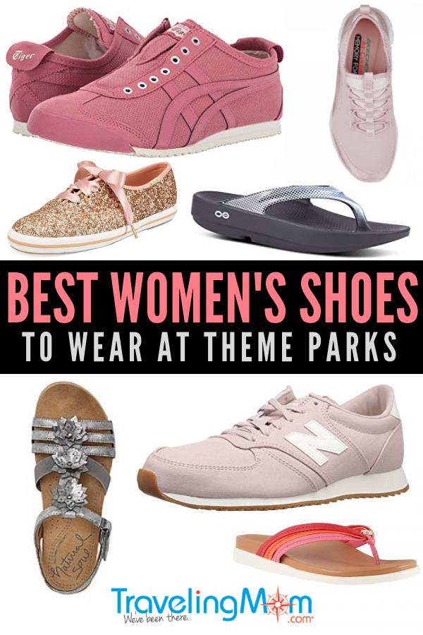Looking for the most comfortable walking shoes for women to wear at the theme parks? Read the tips with suggestions for the most stylish sandals, sneakers, flats and kid's shoes to wear on your next amusement park vacation. These footwear choices are going to be the best shoes for Disneyland, Disney World and all the theme parks in between! | Theme Park Shoes | Best shoes for Disney | Travel Shoes | DisneyBound | Packing List | Travel Footwear | #Shoes #Travel