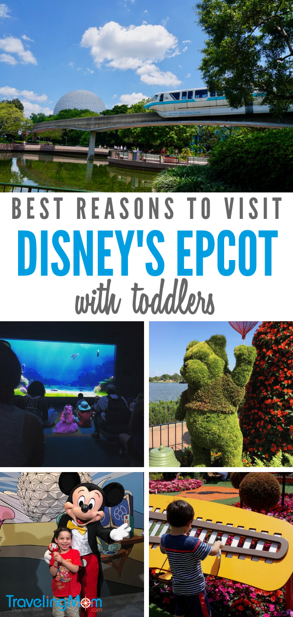 From rides, to character experiences, to attractions, here are the best reasons to visit Epcot with toddlers and preschoolers! #DisneyWorld #Epcot