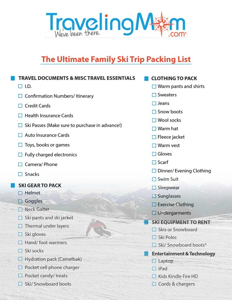 photograph about Ski Trip Packing List Printable identified as The Best Loved ones Ski Vacation Packing Record Downloadable Record