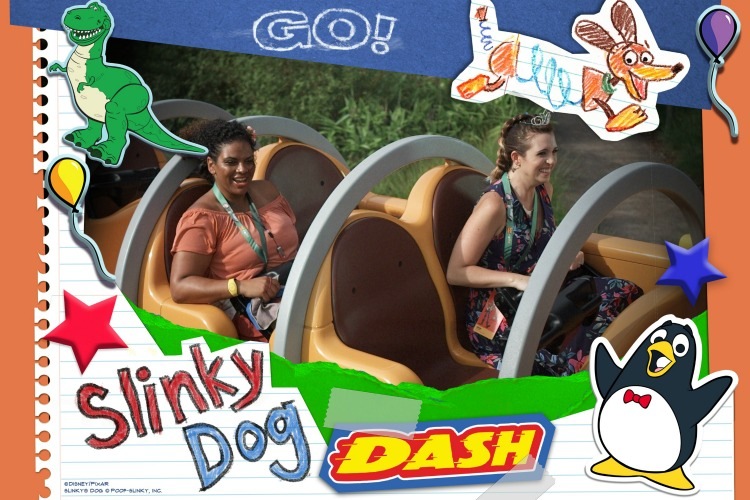 Disney Memory Maker photo riding the Slinky Dog roller coaster - TravelingMom
