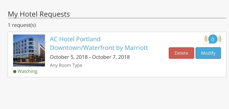 screenshot of notification from Open Hotel Alert an app to help you get a room at a sold-out hotel