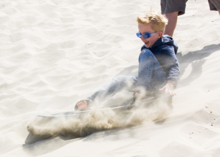 sandboarding on the Oregon Coast with Kids