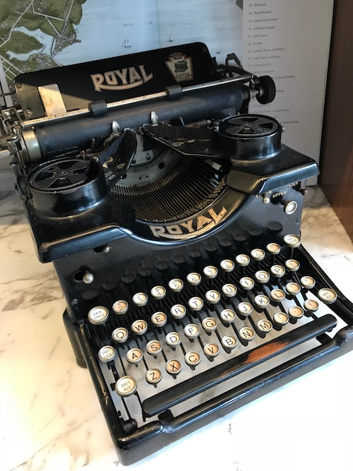 vintage Royal typewriter in the lobby of the Press Hotel in Portland Maine