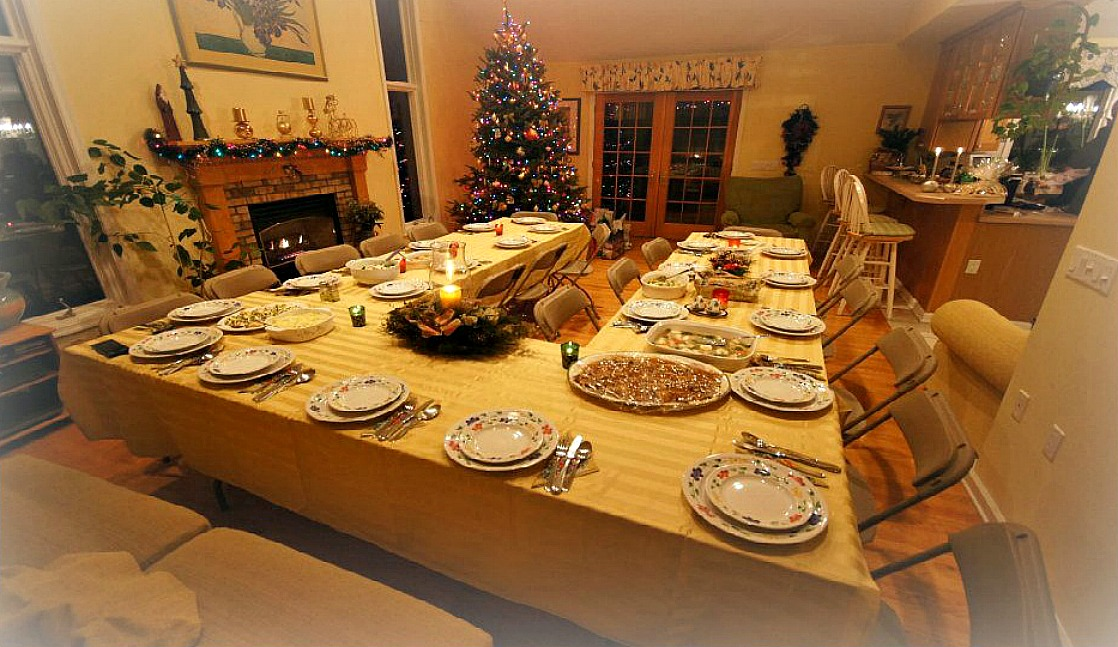 Mixing Polish and American traditions at Christmas in the USA. Table is ready for Wigilia - Christmas Eve.