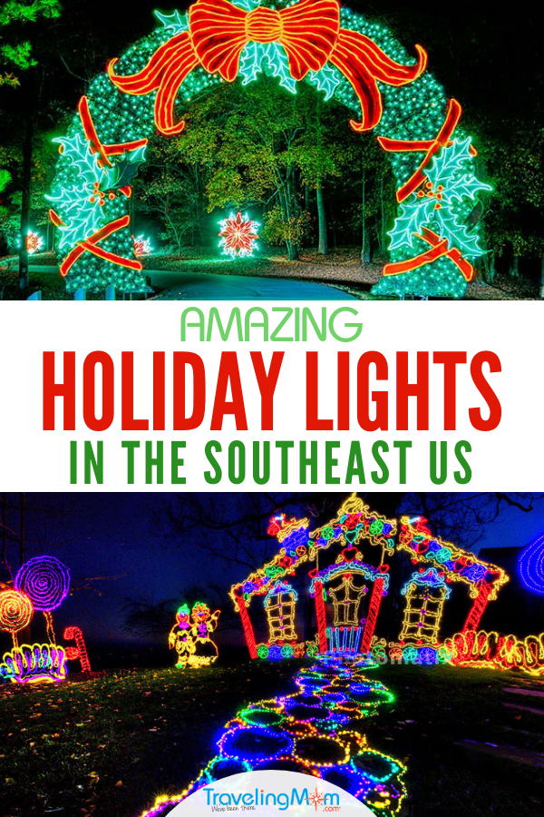 Holiday lights in the Southeast: From garden locations to speedways to mountaintops, these are the best spots to get in the holiday spirit in the Southeastern US. States include Alabama, Florida, Georgia, Louisiana, Kentucky, North Carolina, South Carolina, Virginia, Tennessee, West Virginia, and Washington, DC. #holidaylights #holidays #lights #TMOM