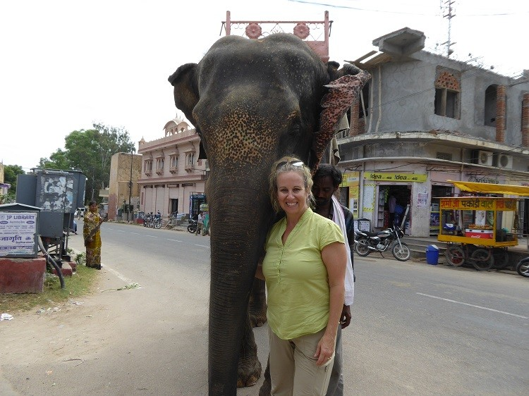 Kim Orlando with Indian elephant.