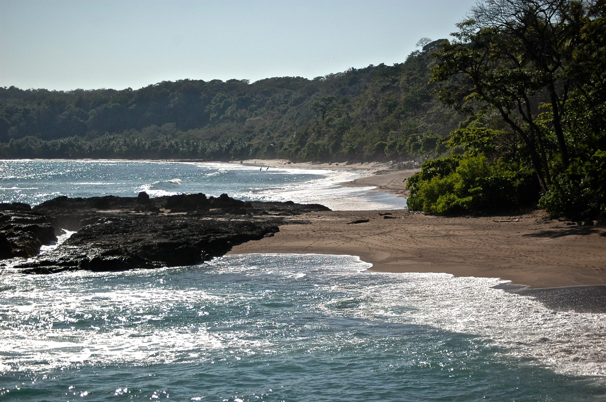 Best Beaches in Central America for Families: A relaxing morning view of Montezuma Beach, Costa Rica.