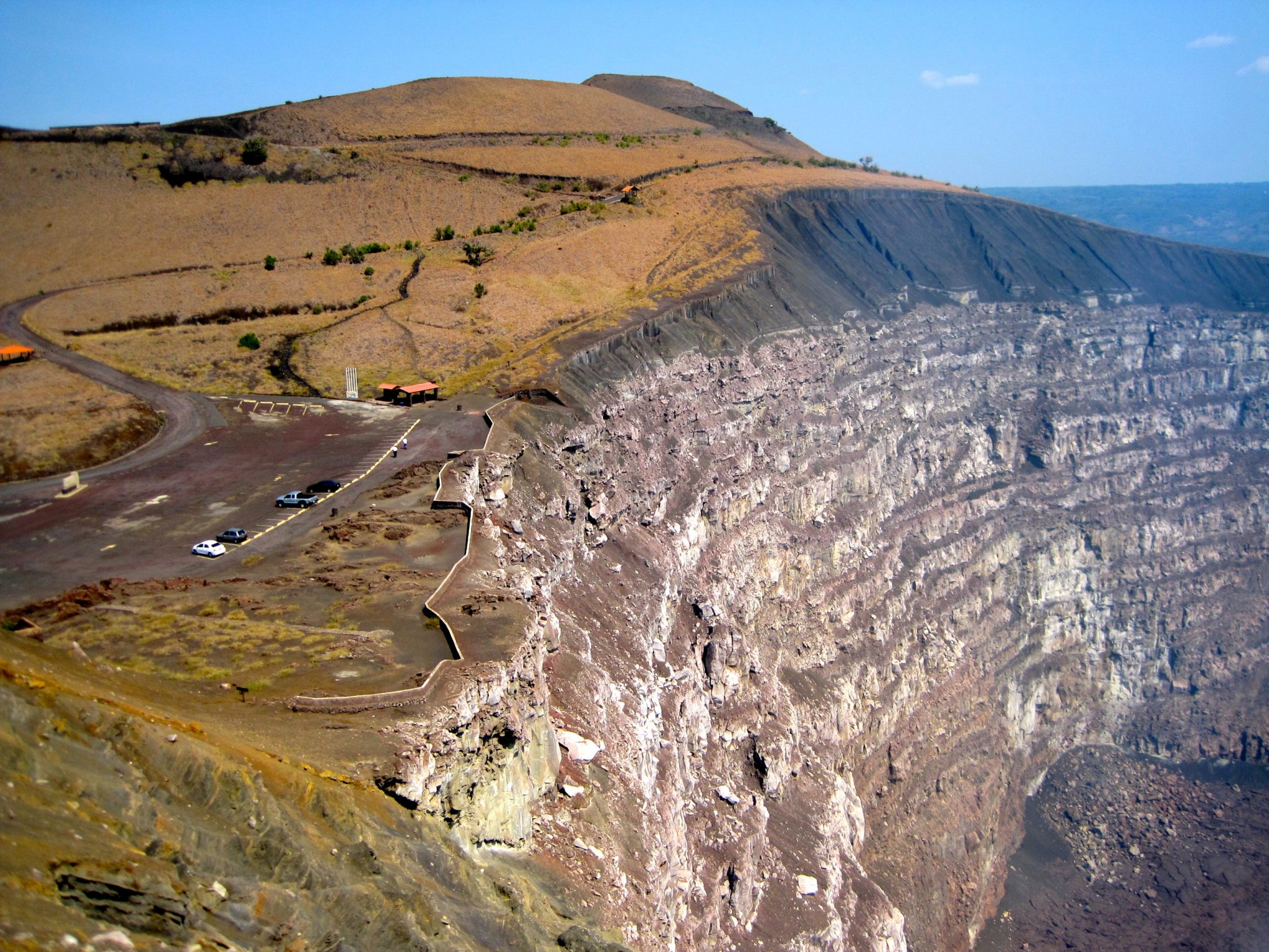 Looking into the crater of an active volcano in Nicaragua. Yes! That's how near cars get to the crater.