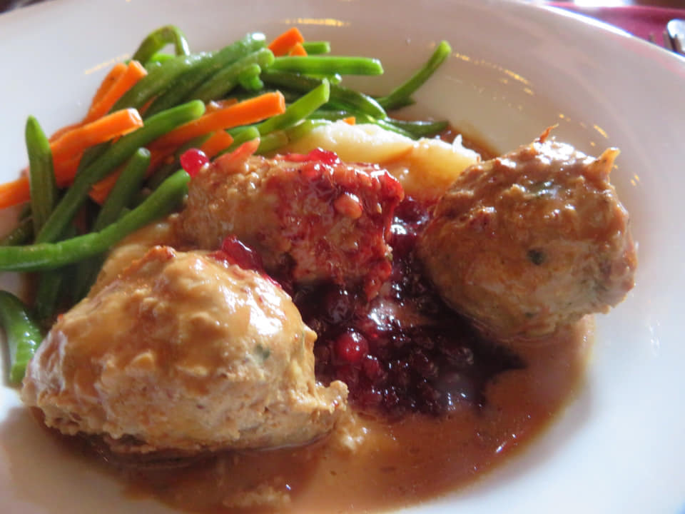 Swedish Meatballs with mashed potatoes and gravy are popular at Disney Storybook Princess Dining at Akershus Royal Banquet Hall at EPCOT