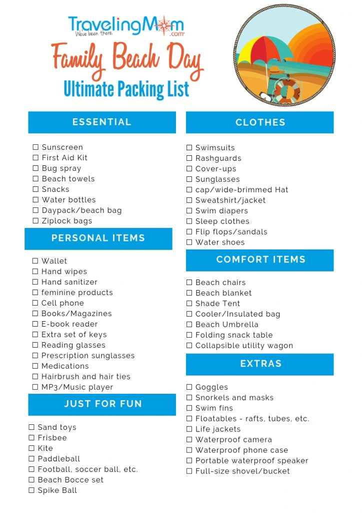 Beach Day Packing List printable - TravelingMom