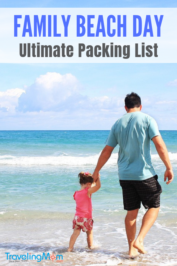 pin for family beach day packing list