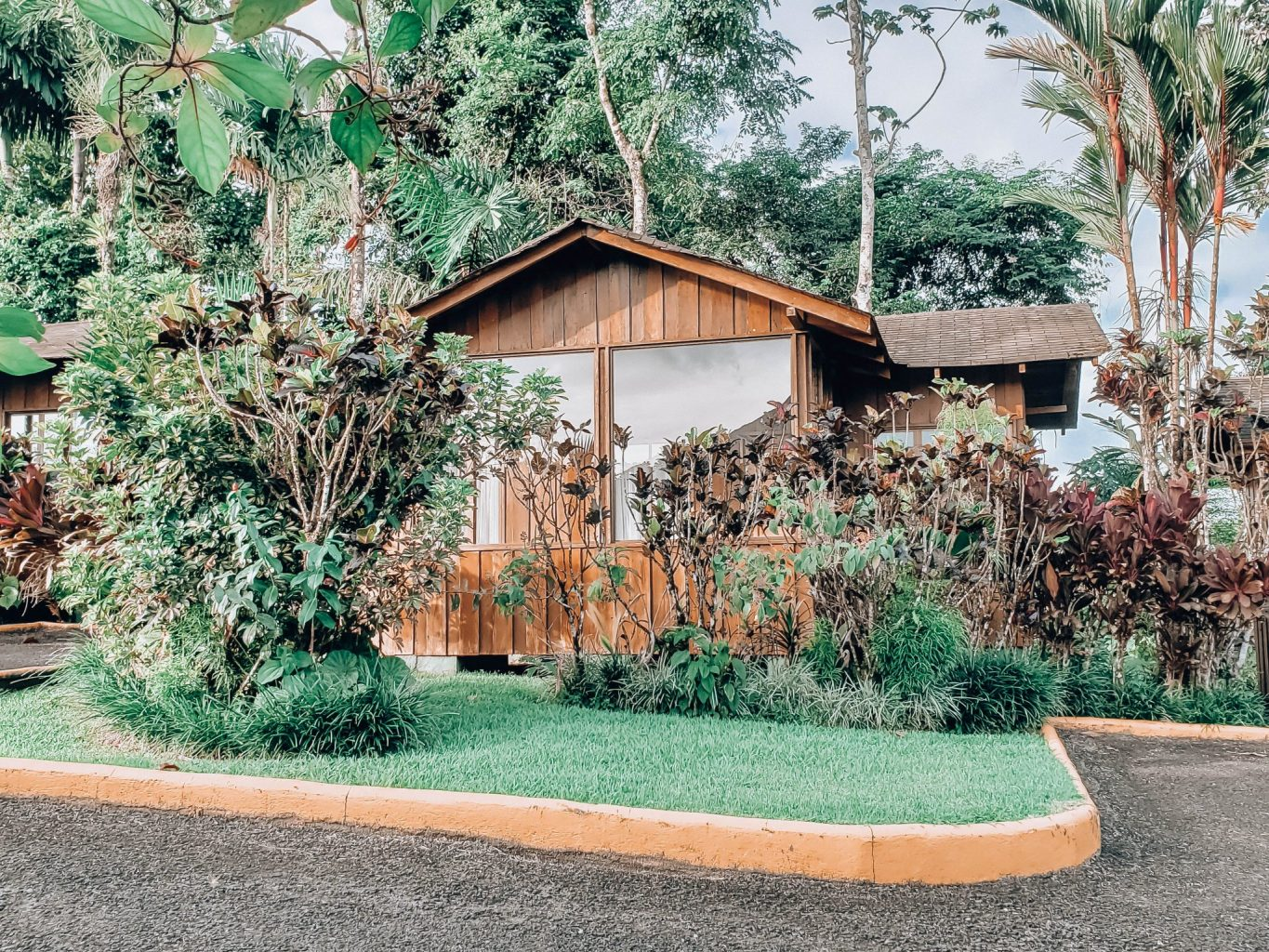 Things to do in Costa Rica with kids include staying in cabins that overlook the Arenal Volcano