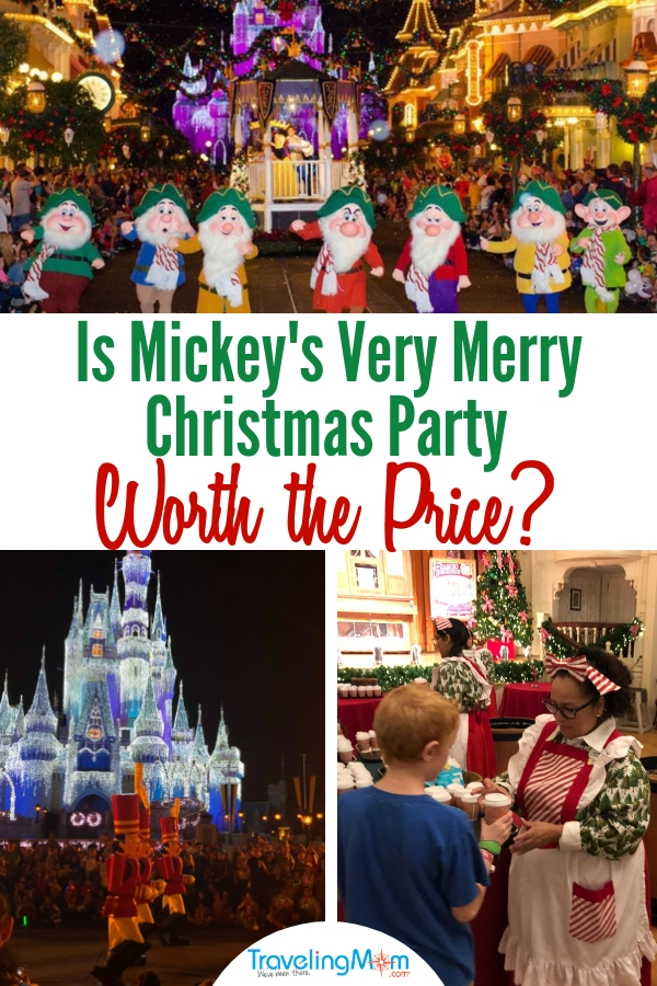 Mickey's Very Merry Christmas Party requires an extra ticket that costs over $100. Are free cookies, character meet and greets, holiday decor, and holiday fireworks worth the price? #MickeysVeryMerry #MVMCP #Disney #familytravel #TMOM