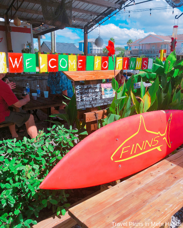 Finns Island Style Grub is on our list of Places to Eat in Panama City Beach with a cool outdoor area and reggae vibes.