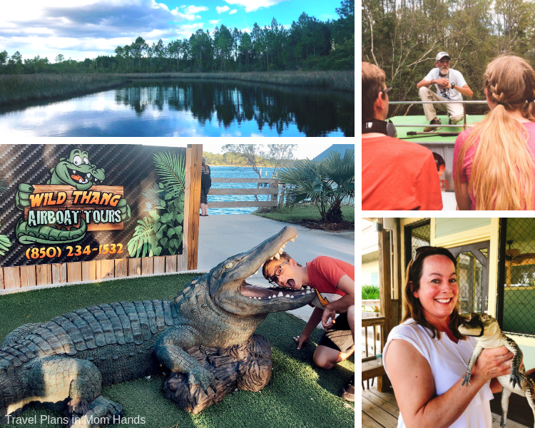 One of the fun Panama City Beach Things to Do is airboat ride with Wild Thang Airboat Tours to search for wildlife like gators.