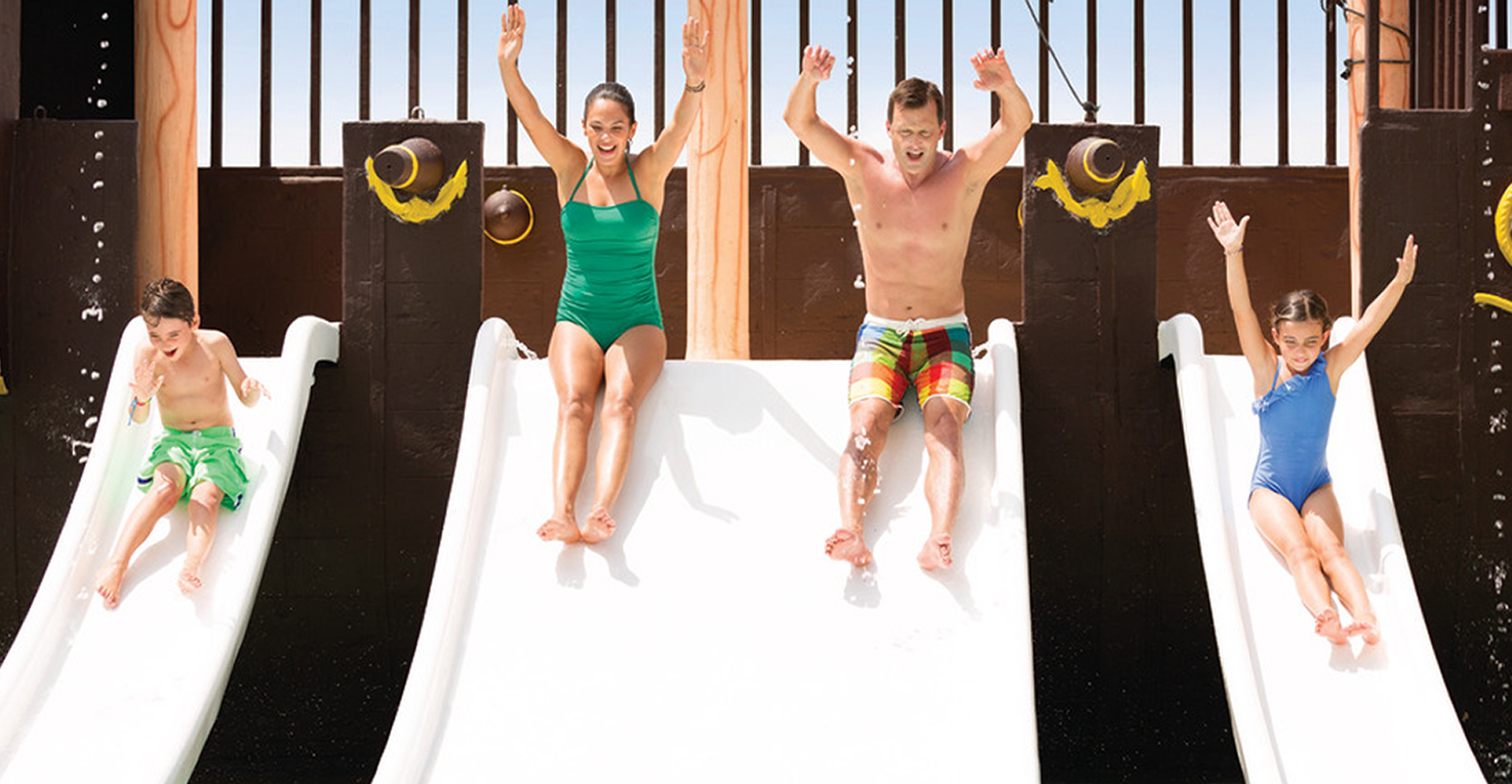 Slip-sliding fun for the entire family at the Pirate Ship Splash Park at Panama Jack Resorts Cancun