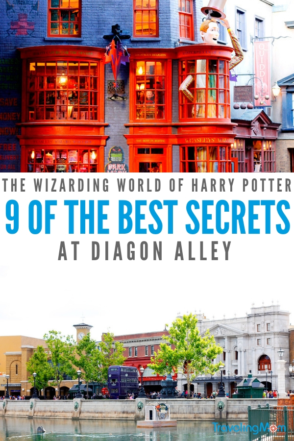 Want to know the secrets of Diagon Alley? We've got 9 of the best ones in one place! Read our favorites on TravelingMom.com. #diagonalley #harrypotter #wizardingworld #universalorlando #familytravel #harrypotterfan #universalstudios
