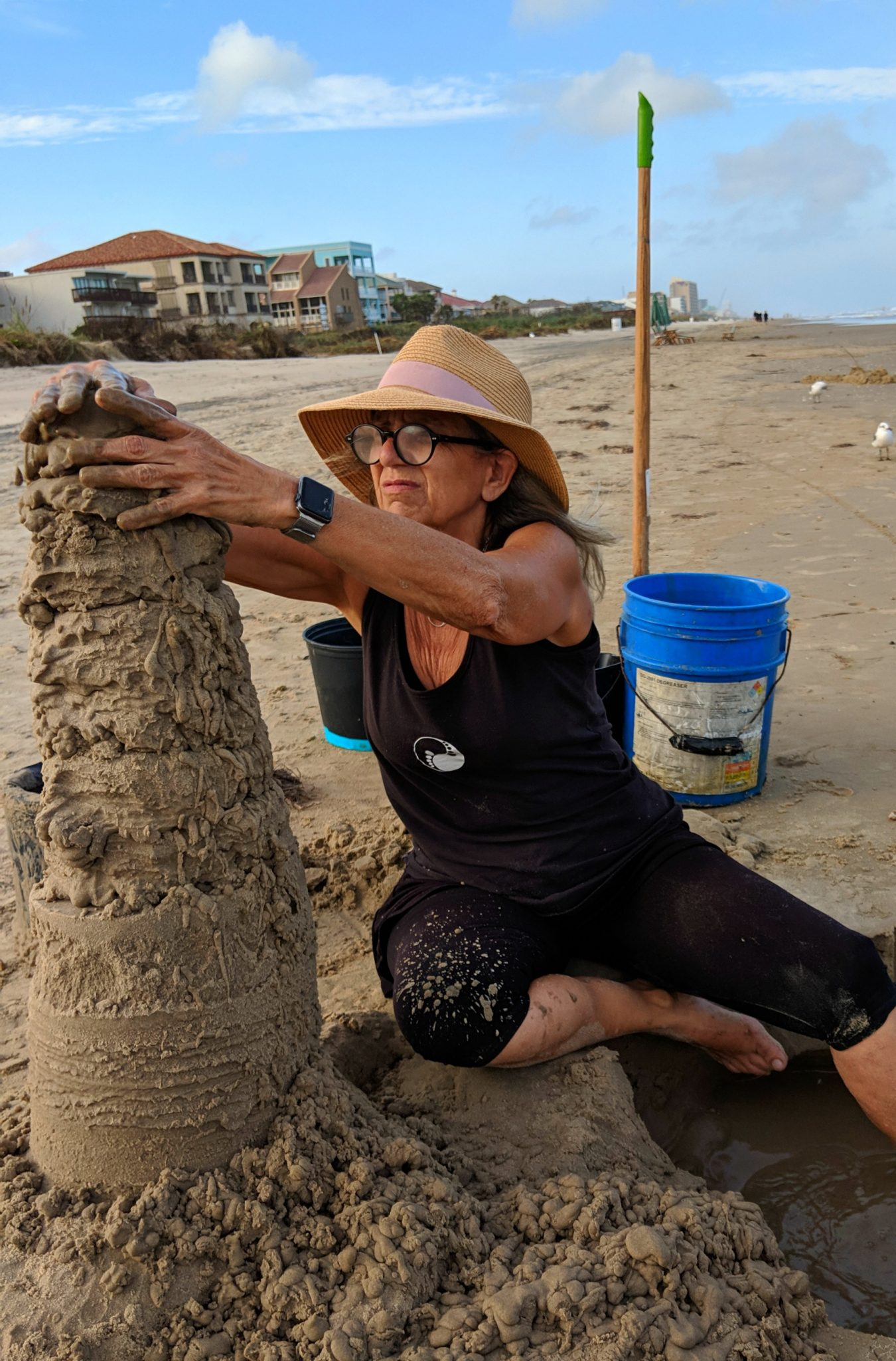"""Sandy Feet,"" a professional sand castle artist on the beach on South Padre Island TX - TravelingMom."
