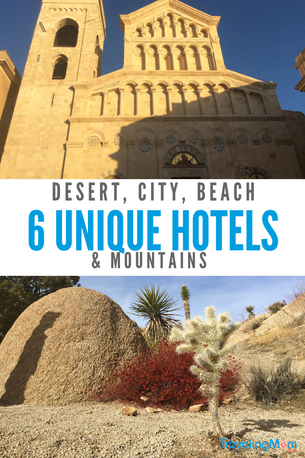 Check out 6 unique hotels that were so special, they were a memorable part of the vacation.  #hotels #uniquehotels #JoshuaTree