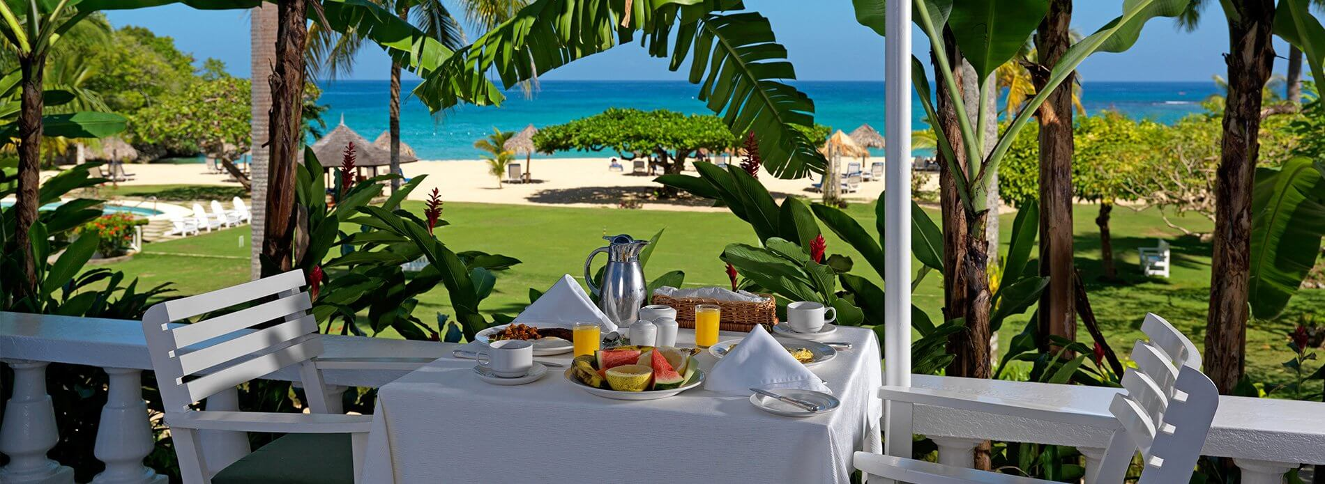 Terrace breakfast at Jamaica Inn, a unique hotel on the beach in Jamaica.