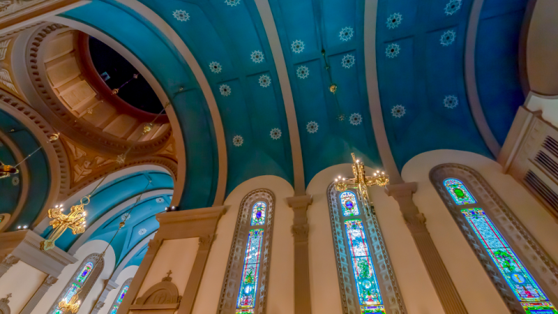 Beautiful painted church ceiling in St. Augustine FL - TravelingMom