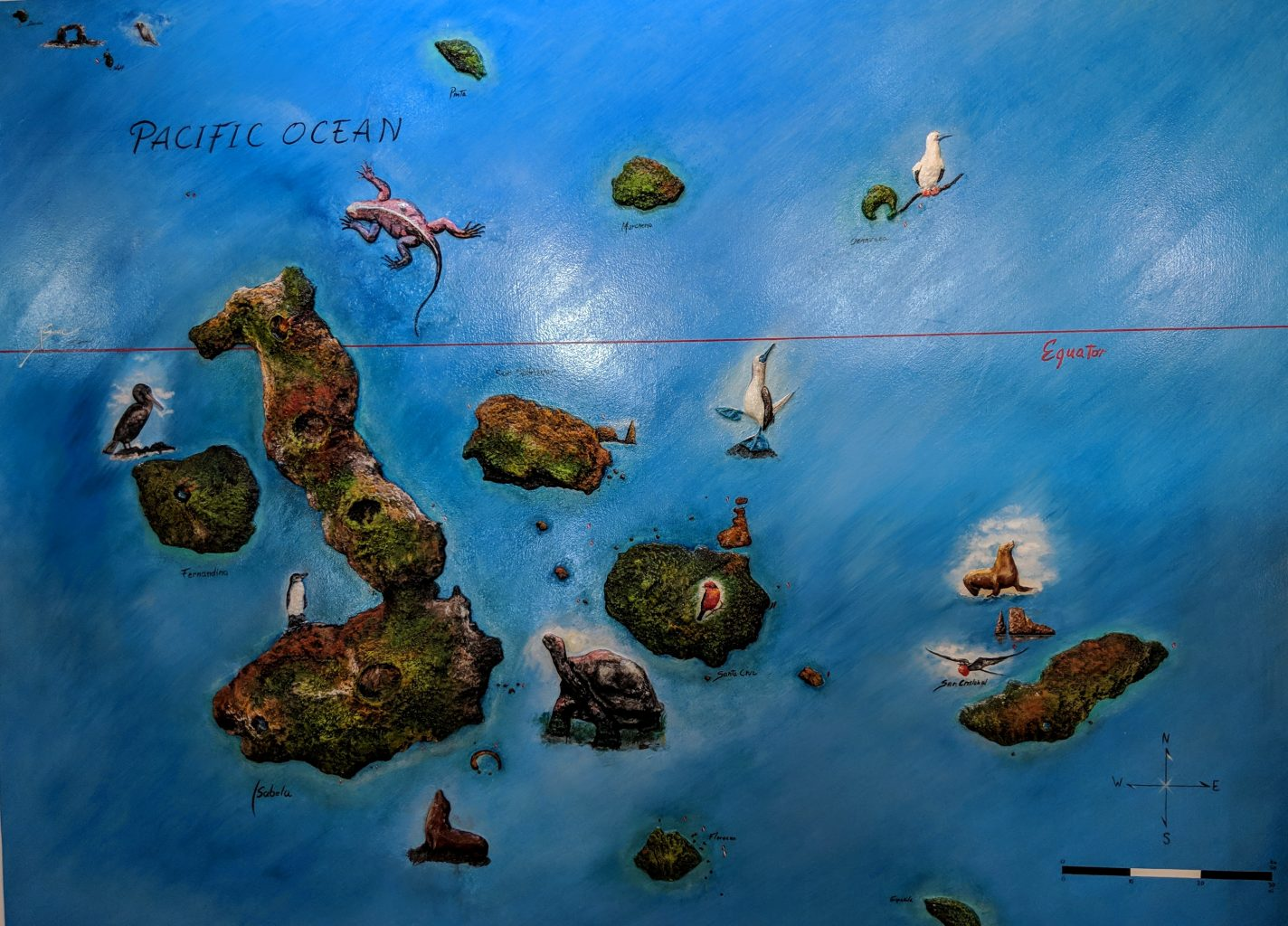 A map of the Galapagos Islands.