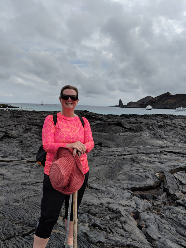 Hiking lava fields in the Galapagos Islands.
