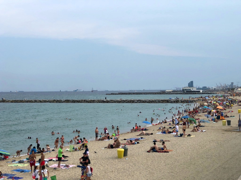 Things to do in Barcelona with kids and college kids: beach near Hilton Diagonal Mar.