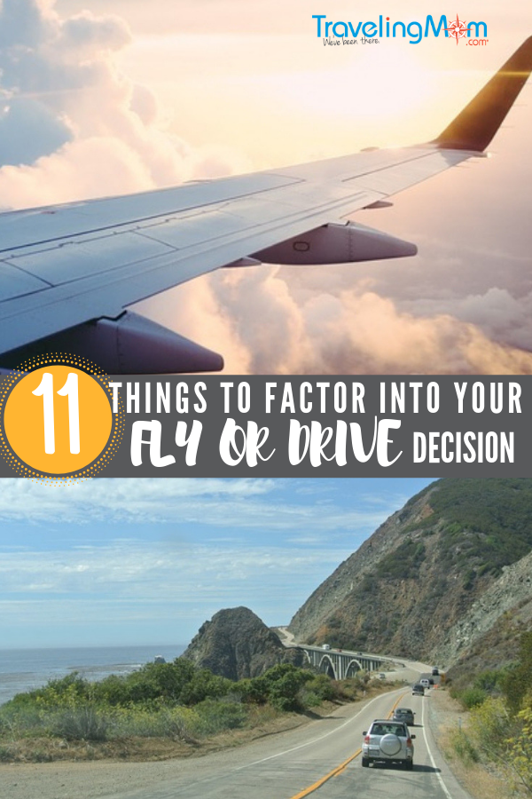 How do you decide whether driving is worth it? We lay out 11 things to consider when planning vacation transportation. #travelingmom #flyordrive #familyvacation #familytravel