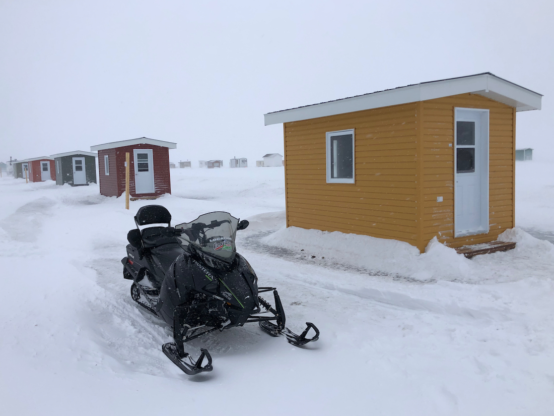 Icefishing hut on the Saguenay Fjord. What to do in Saguenay Lac Saint Jean in Winter