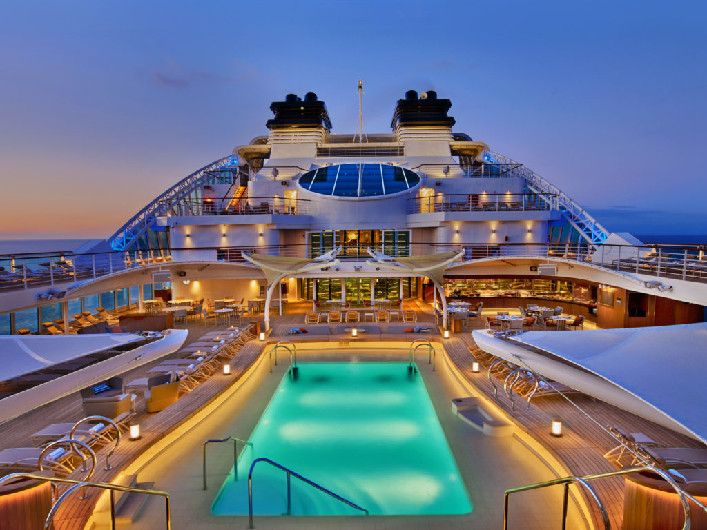 The pool on the seabourn encore cruise ship.