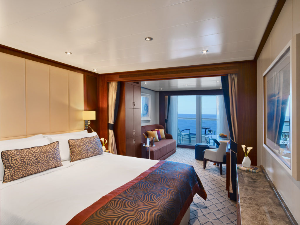 A picture of the rooms on the Seabourn Encore cruise ship.