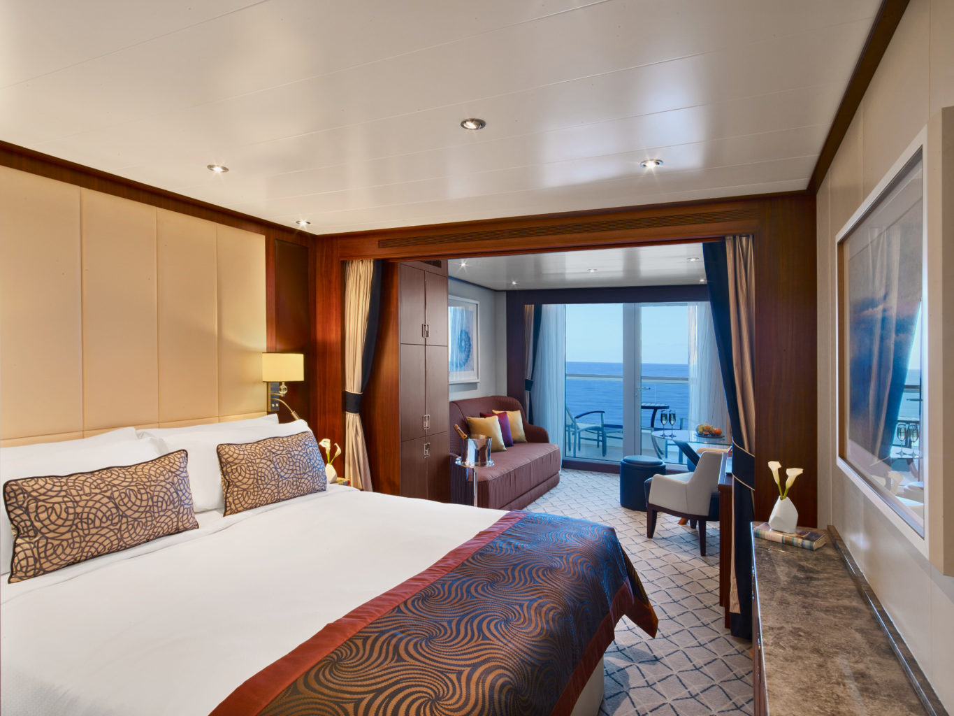 cruise lingo. A picture of the rooms on the Seabourn Encore cruise ship.