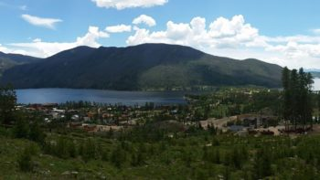 View of Grand Lake from the Grand Lake Lodge above the mountain town