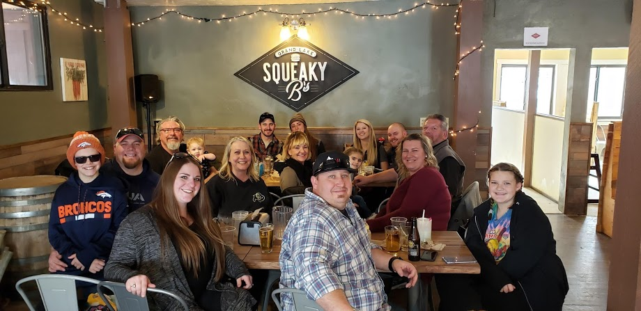 So much fun dining with our multigenerational family at Squeaky Bs in Grand Lake, Colorado.