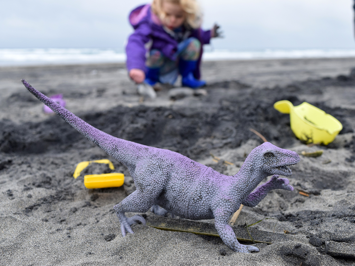 Beaches games can be as simple as bringing a bag of pastic dinosaurs to bury in the sand.