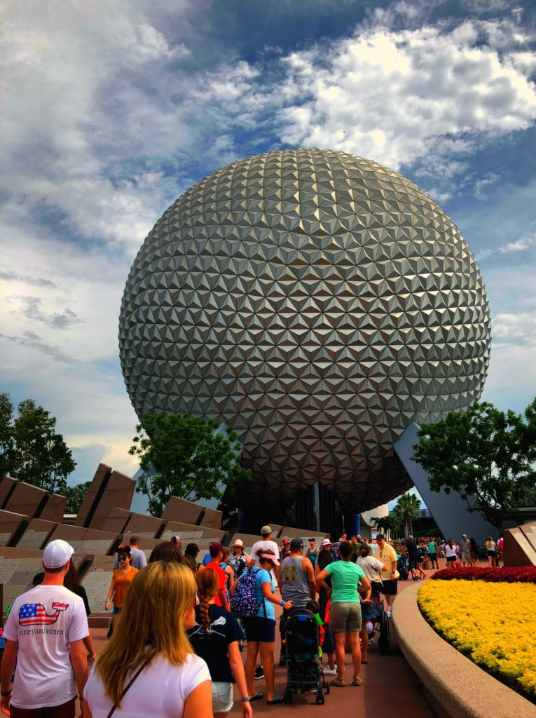 Epcot's iconic sphere greets guests at the entrance to the park.