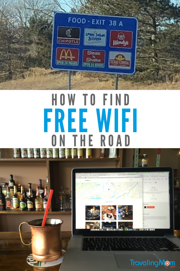 Check out these tips for how to find free WiFi connections on the road. #roadtrip #TMOM