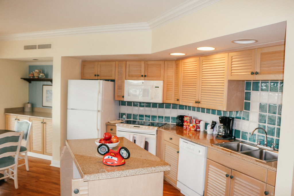 A kitchen at Disney Vacation Club Deluxe Villas - TravelingMom