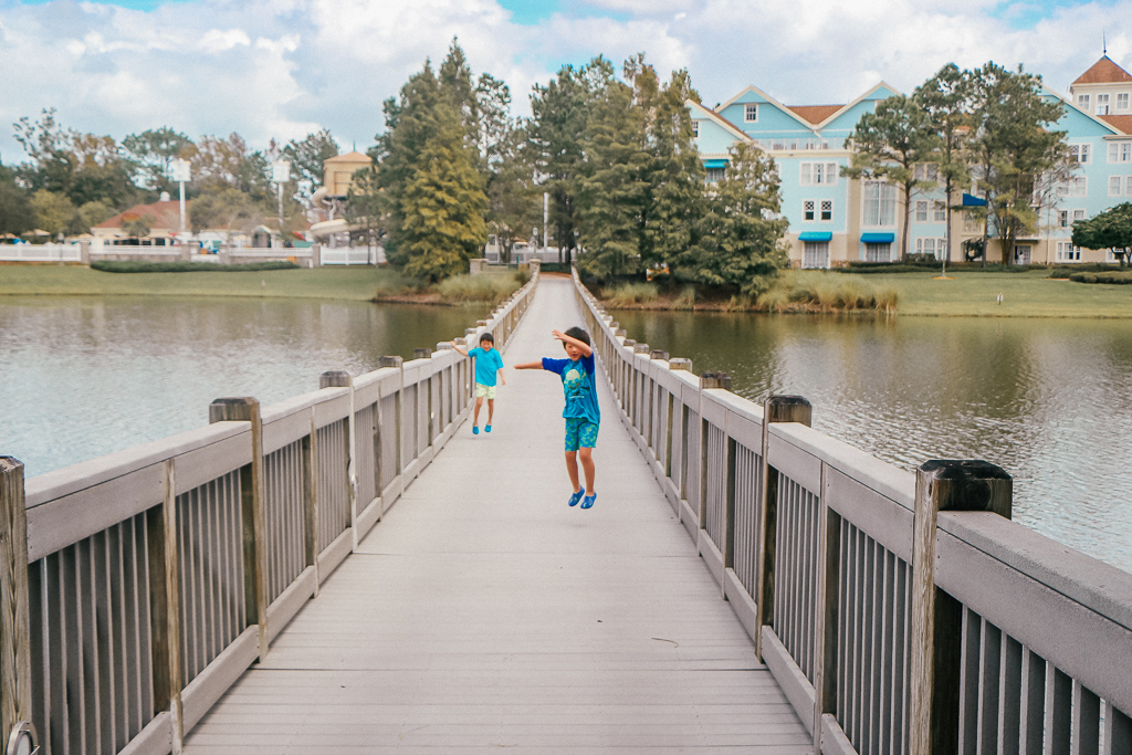 two boys at Disney's Saratoga Springs, a Disney Vacation Club property - TravelingMom