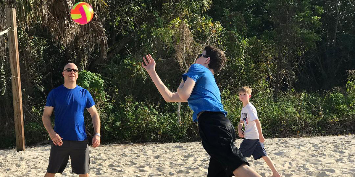 Volleyball is a classic beach game.