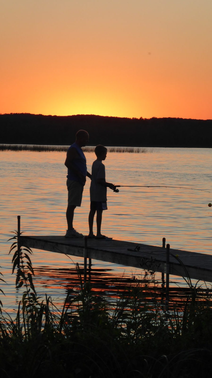 Fishing at sunset at Madden's on Gull Lake in Minnesota.