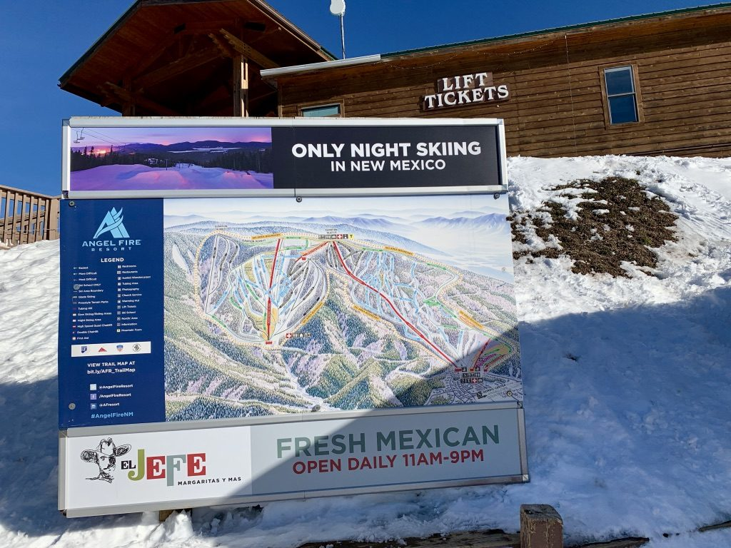 Visit Angel Fire a ski resort in New Mexico for night skiing.