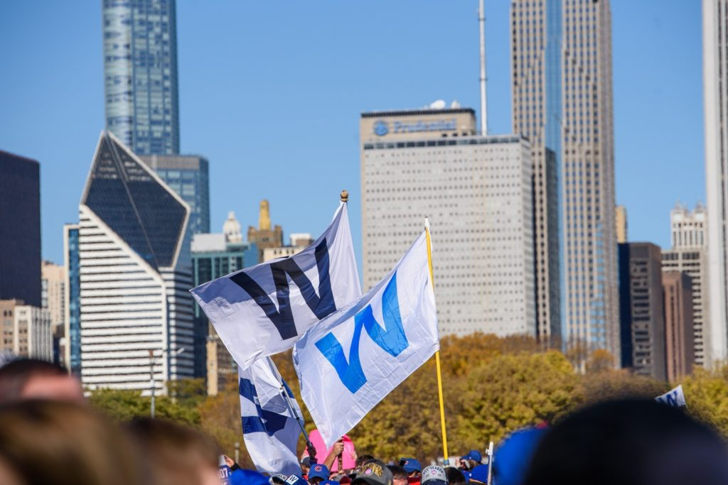 The Chicago Cubs W flag is seen all over Chicago and Wrigleyville.