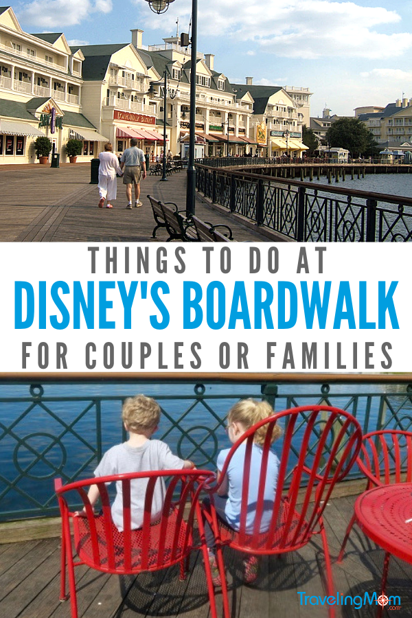 (top) a couple walking on Disney's Boardwalk; (bottom) two children enjoying the entertainment and dining at Disney's boardwalk