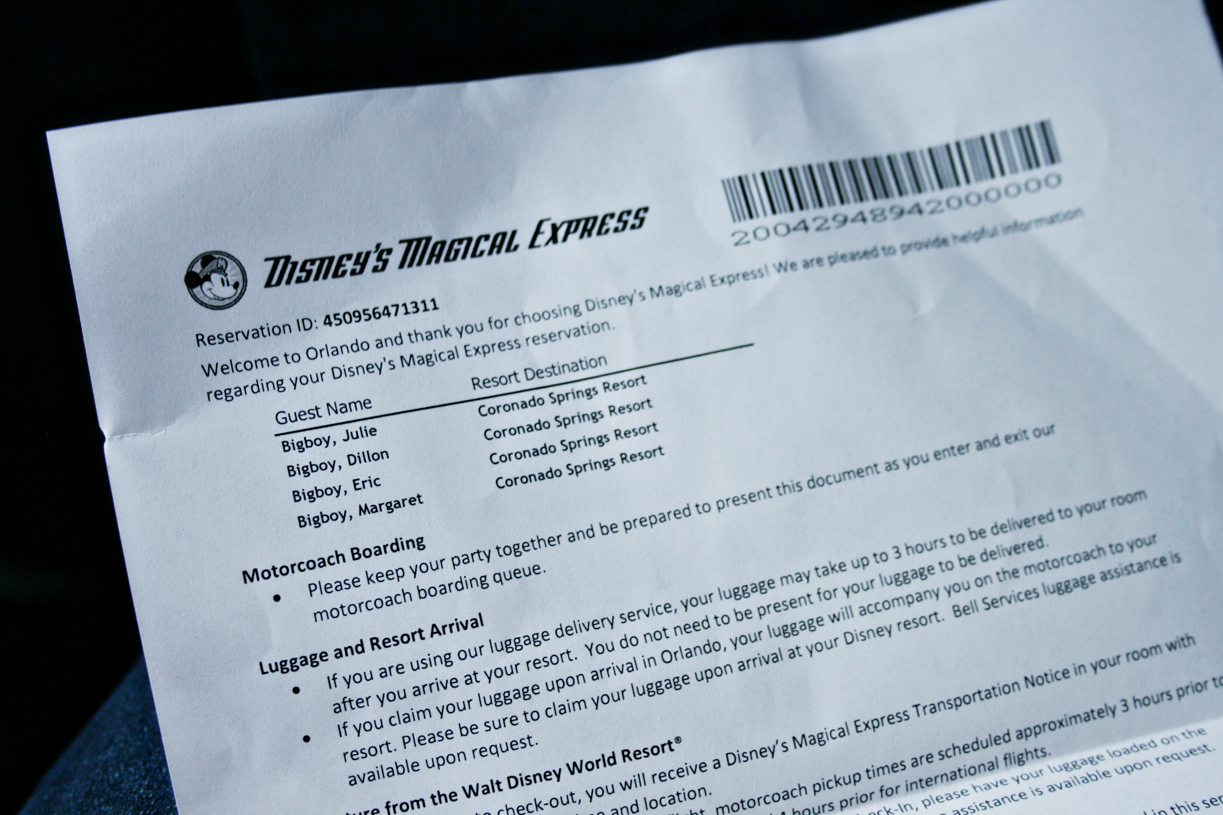 Disney's Magical Express paperwork